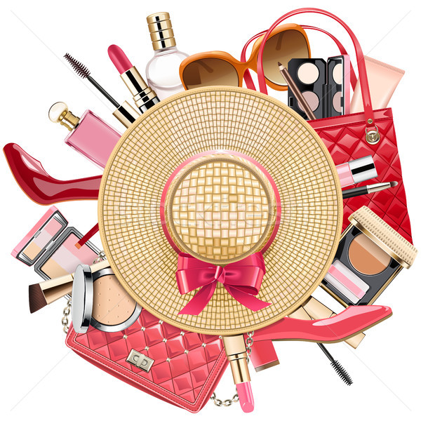 Vecteur mode osier chapeau isolé blanche Photo stock © dashadima