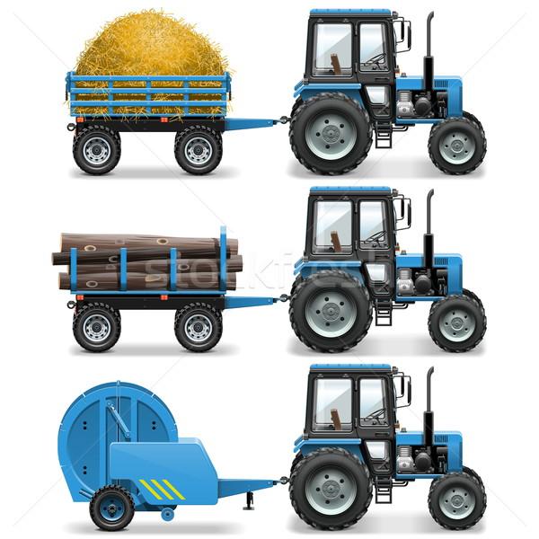 Vektör çiftlik traktör yalıtılmış beyaz kamyon Stok fotoğraf © dashadima