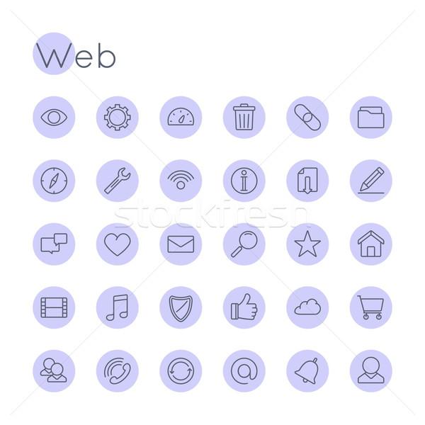 Vektor webes ikonok izolált fehér biztonság felirat Stock fotó © dashadima