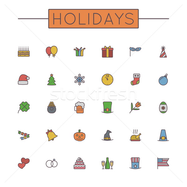 Stock photo: Vector Colored Holidays Line Icons