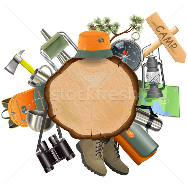 Vector Wooden Board with Camping Accessories Stock photo © dashadima
