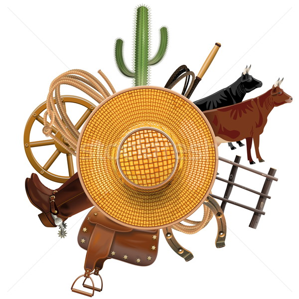 Vector Cowboy Ranch Concept with Straw Hat Stock photo © dashadima
