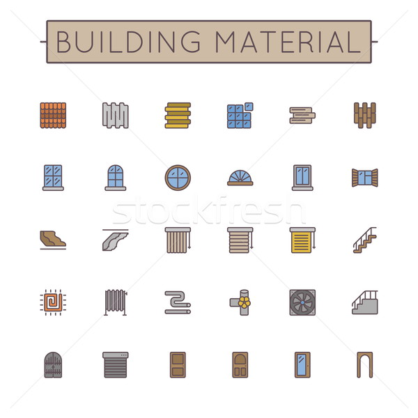 Vector Colored Building Material Line Icons Stock photo © dashadima