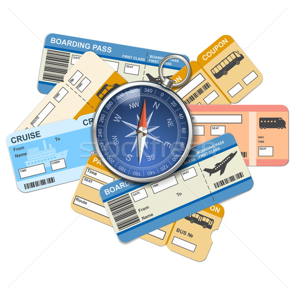 Vector compass and tickets Stock photo © dashadima