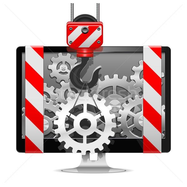 Wektora Żuraw działalności budowy monitor Zdjęcia stock © dashadima