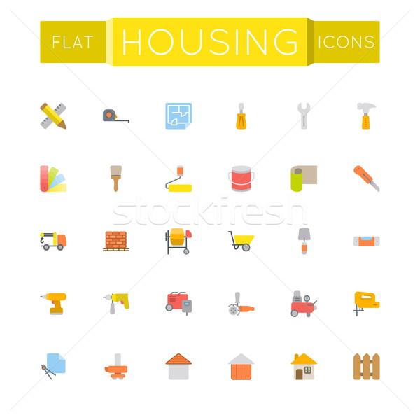 Vector huisvesting iconen geïsoleerd witte muur Stockfoto © dashadima