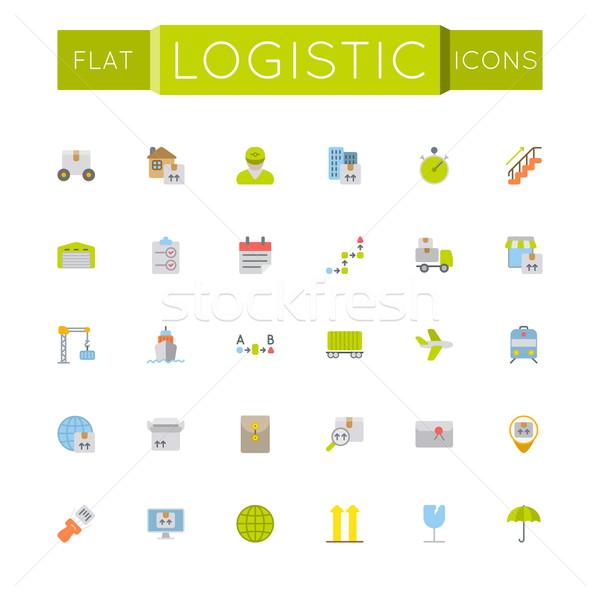 Vector Flat Logistic Icons Stock photo © dashadima