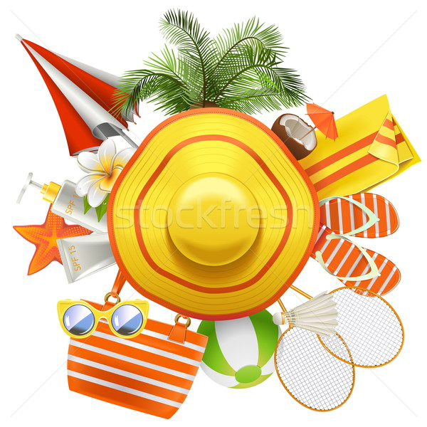 Vector Beach Accessories with Hat Stock photo © dashadima