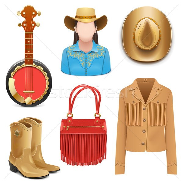 Vector Cowboy Female Accessories Stock photo © dashadima