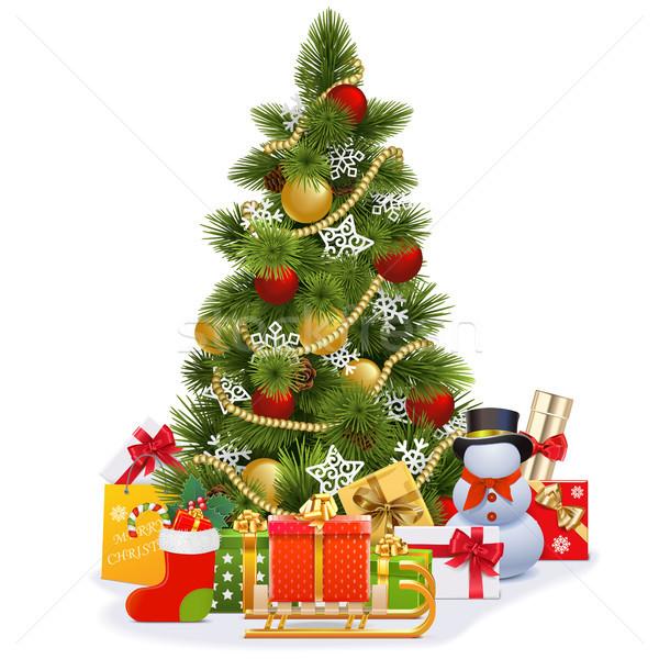 Vektor karácsonyfa szánkó izolált fehér fa Stock fotó © dashadima