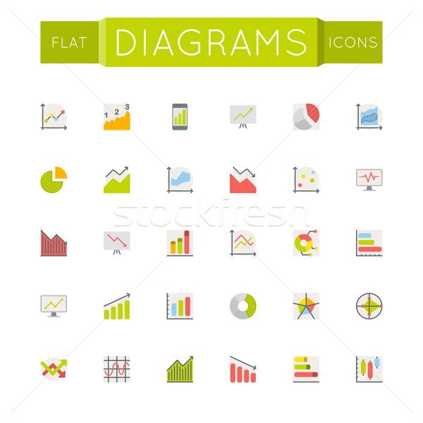 Vektör diyagramları simgeler yalıtılmış beyaz dizayn Stok fotoğraf © dashadima