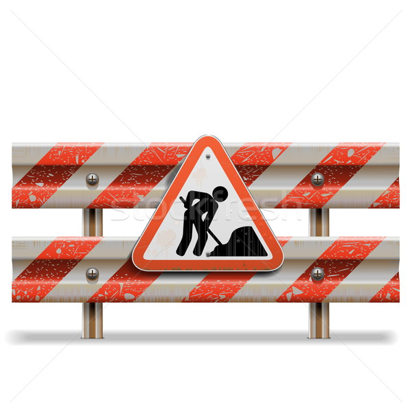 Vector Old Barrier with Sign Stock photo © dashadima
