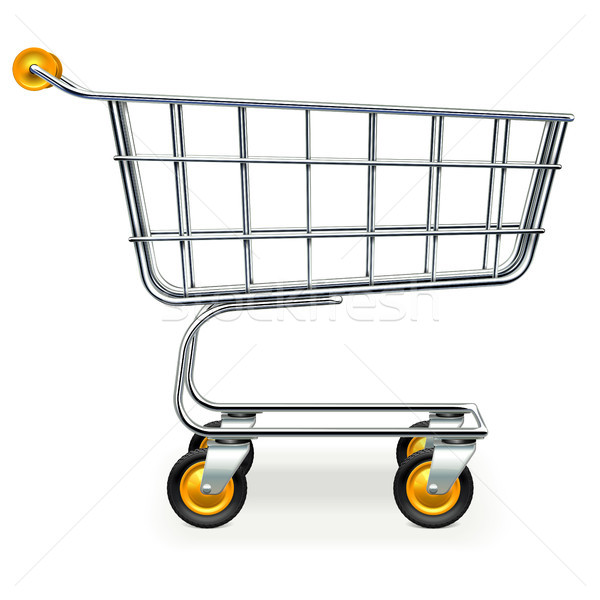 Vector Empty Supermarket Trolley with Yellow Wheels Stock photo © dashadima