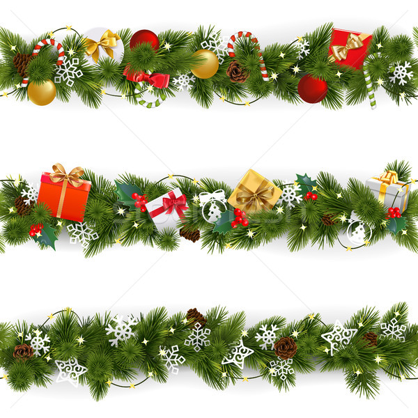 Vector Christmas Border Set with Garland Stock photo © dashadima