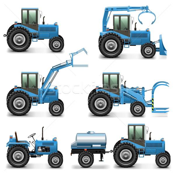 Vektor mezőgazdasági traktor szett izolált fehér Stock fotó © dashadima