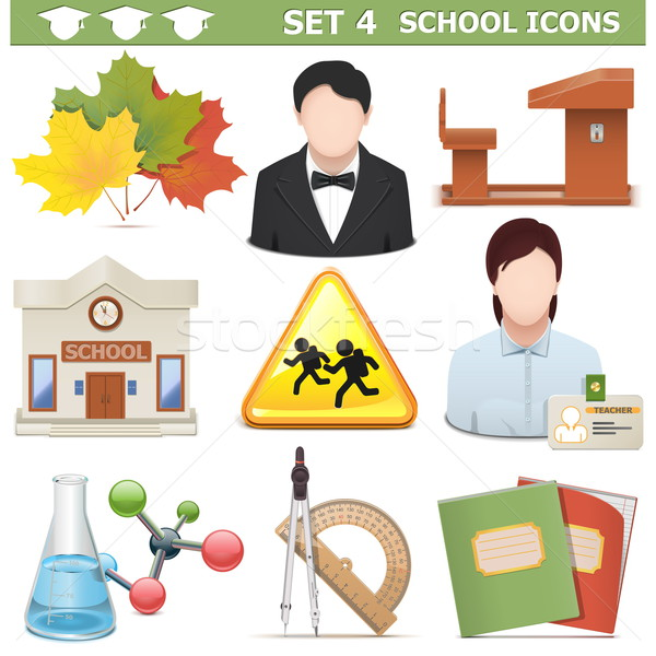 Vector School Icons Set 4 Stock photo © dashadima