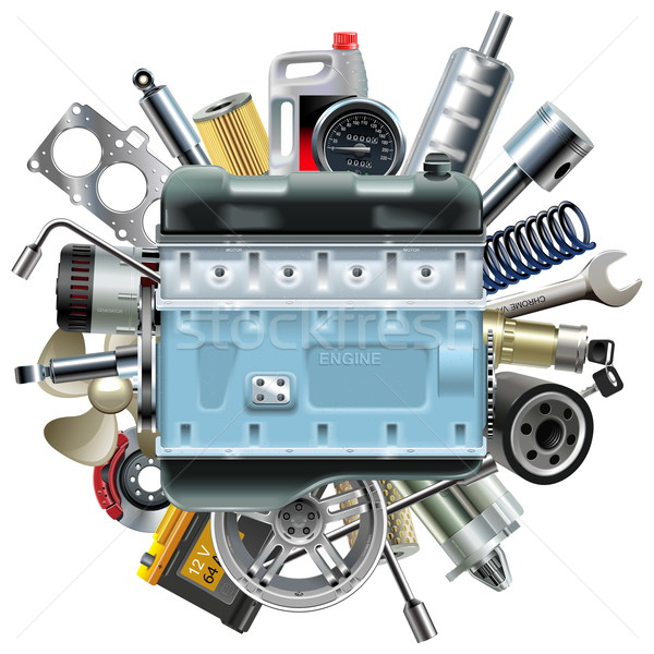 Vector Motor Engine with Car Spares Stock photo © dashadima