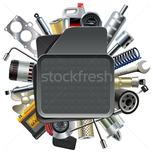 Vector Car Mat with Car Spares Stock photo © dashadima