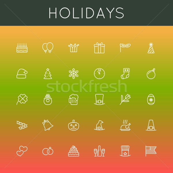 Stock photo: Vector Holidays Line Icons