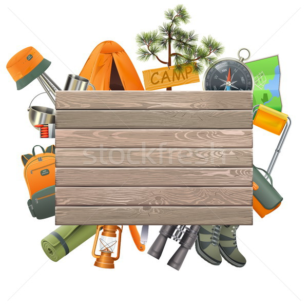 Vector Camping Concept with Wooden Plank Stock photo © dashadima