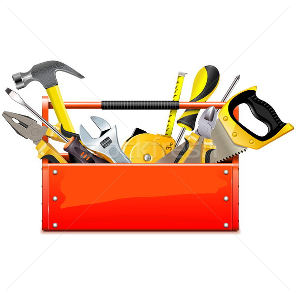 Stock photo: Vector Red Toolbox with Hand Tools