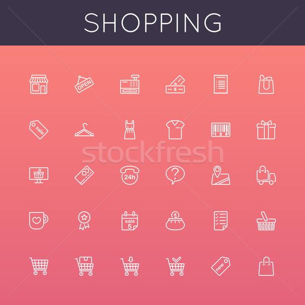 Foto stock: Vetor · compras · linha · ícones · isolado · branco