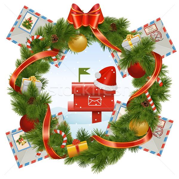 Vector christmas krans mailbox geïsoleerd witte Stockfoto © dashadima