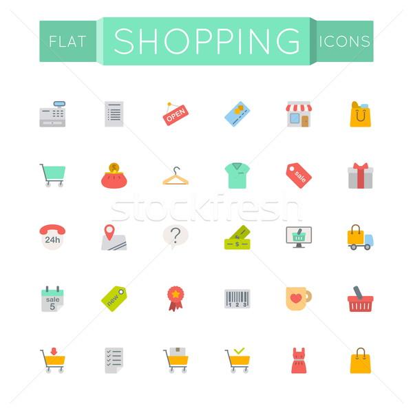Stock fotó: Vektor · vásárlás · ikonok · izolált · fehér · üzlet