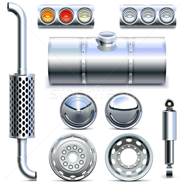 Vector Chromed Truck Parts Set 1 Stock photo © dashadima