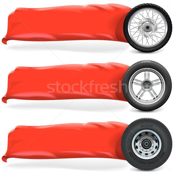Vector Wheels with Banner Stock photo © dashadima