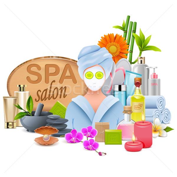 Stockfoto: Vector · vrouwelijke · spa · salon · geïsoleerd · witte