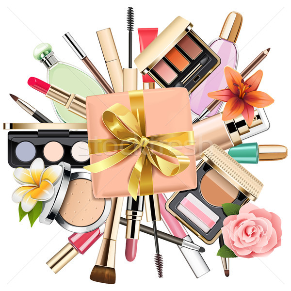 Zdjęcia stock: Wektora · makijaż · kosmetyki · dar · odizolowany · biały