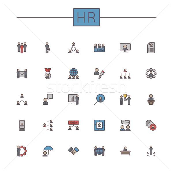 Vector Colored HR Line Icons Stock photo © dashadima