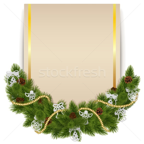 Vector Christmas Decoration with Card Stock photo © dashadima
