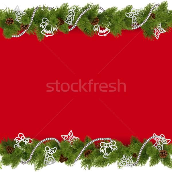 Stockfoto: Vector · christmas · grens · kralen · geïsoleerd · witte