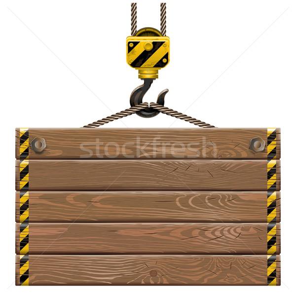 Vetor moldura de madeira guindaste gancho isolado branco Foto stock © dashadima
