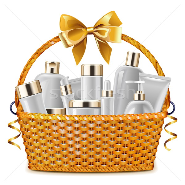 Vector Gift Basket with Cosmetic Packaging Stock photo © dashadima