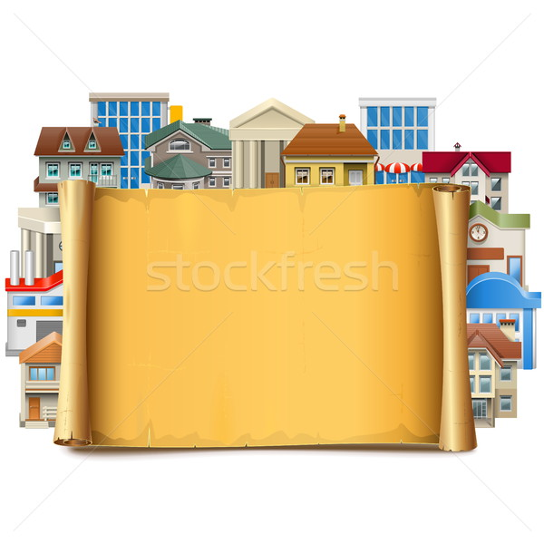 Vector Old Scroll with Buildings Stock photo © dashadima