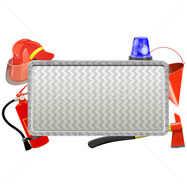 Vector brandweerman metaal boord geïsoleerd witte Stockfoto © dashadima
