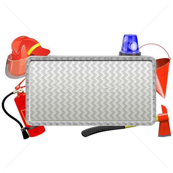 Vector Firefighter Metal Board Stock photo © dashadima