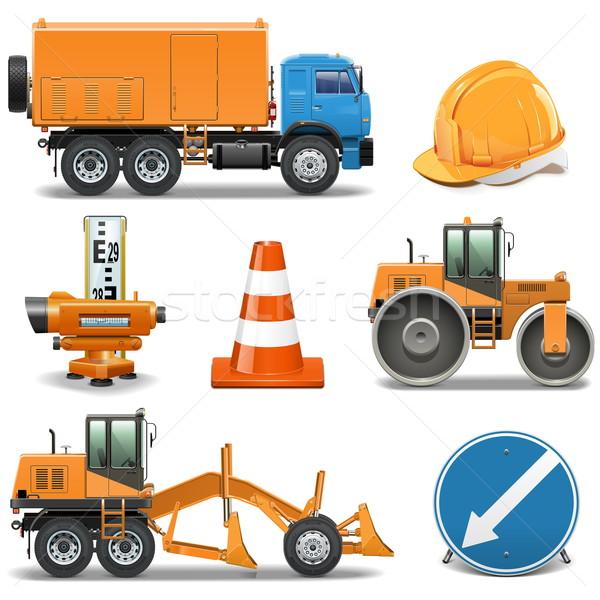 Vektör yol yapımı simgeler inşaat dizayn ok Stok fotoğraf © dashadima