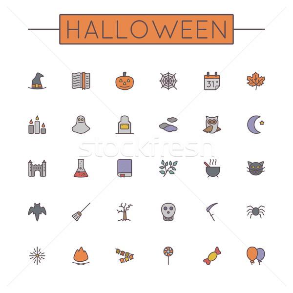 Vector Colored Halloween Line Icons Stock photo © dashadima