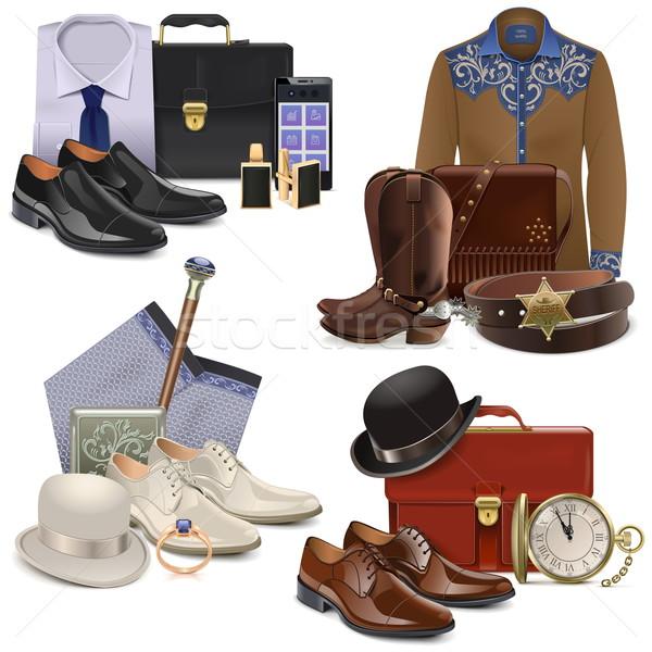 Foto stock: Vetor · masculino · moda · conjunto · isolado