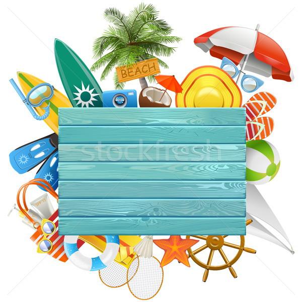 Vector Beach Concept with Blue Board Stock photo © dashadima