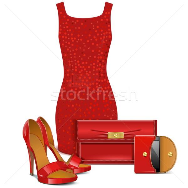 Vektor piros női ruházat izolált fehér Stock fotó © dashadima