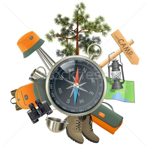 Vector Camping Concept with Compass Stock photo © dashadima
