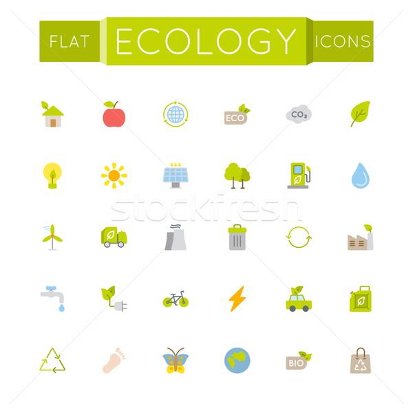 Vector Flat Ecology Icons Stock photo © dashadima