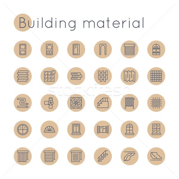 Vector Round Building Material Icons Stock photo © dashadima