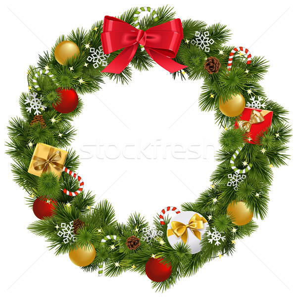 Vector Christmas Wreath with Garland Stock photo © dashadima
