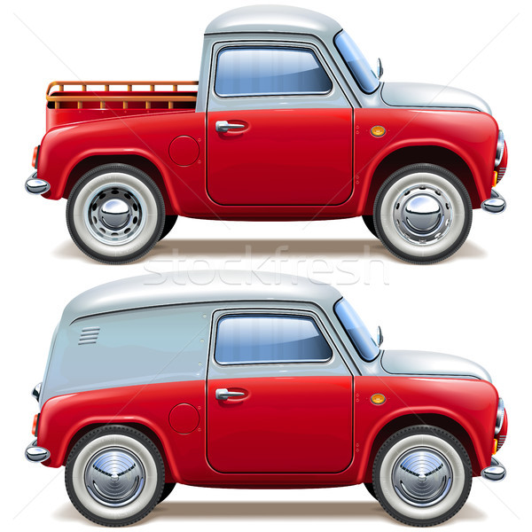 Vector Red Pickup Truck and Minivan Stock photo © dashadima